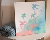 Canvas Painting - Birds Flying Through Pastel Colours (Fundraising Item for Charity)