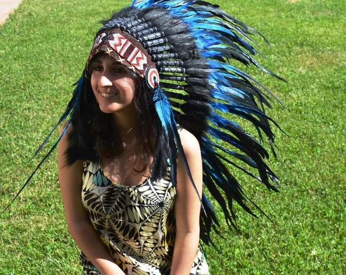 Y06- PRICE REDUCED - Indian Native American Style , War bonnet , Medium Electric Blue Feather Headdress (36 inch long )..