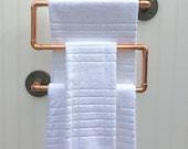 Copper Pipe Towel Rack, Industrial Towel Bar, Modern Industrial Steampunk Design, Modern Decor, Copper Bathroom Accessories, Copper Kitchen