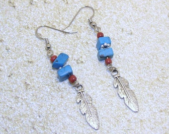 Turquoise And Coral Earrings With Dangling Silver Feather, Western Earrings, Western Jewelry, Cowgirl Earrings