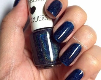 Nail Polish - Velvetine - Holographic Blue Navy Jelly Nail Polish