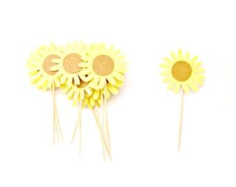 12 Glitter Sunflower Cupcake Toppers - Flower Cupcake Toppers, First Birthday Cupcake Toppers, Girl Cupcake Topper, Flower Party