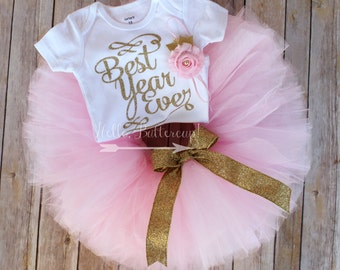 Gold first birthday tutu outfit, Gold glitter One bodysuit, Girls first birthday outfit - Gold birthday tutu, Cake Smash outfit, Pink Tutu