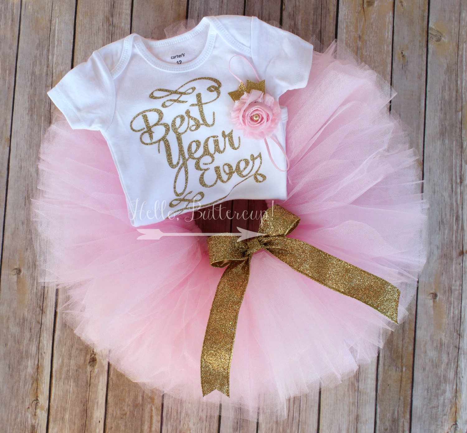 Birthday Party Outfit: Gold First Birthday Tutu Outfit Gold Glitter One Bodysuit