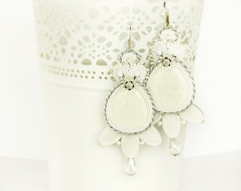 Long bridal soutache earrings white dangle earrings wedding earrings bridal jewelry white soutache long earrings white statement earrings