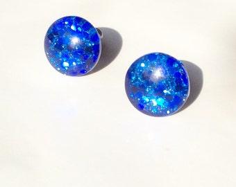 Stud earrings,blue cobalt glitter resin stud,tiny stud earrings,resin studs,glitter stud hypoallergenic,handmade jewerly