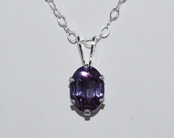 Alexandrite Necklace, June Birthstone,8x6 Oval Pendant,ColorChanging Stone,Sterling Silver,16inch Cable Chain,Bridal Jewelry,Wedding Jewelry