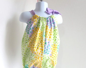 Baby 6-9mo Romper, Baby Girl Romper, Yellow And Purple Floral, Baby Summer Clothes, Bubble, Sunsuit.