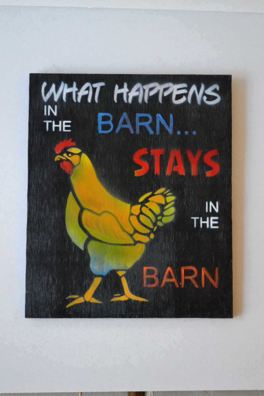 Painted wood sign primitive barn sign funky wall art home for Funky wall art