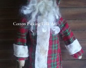 Primitive Father  Christmas  Santa Cabinet Tuck, Ornament