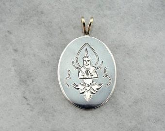 Vintage Namaste Pendant, Mid Century Siam Silver Niello Pendant WWX289-P