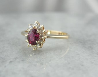 Vintage Ruby Halo Ring with Rich Red Center Stone YD55C7-P