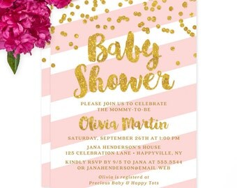 Pink Stripes & Gold Glitter Look Confetti Look Baby Shower Invitations - DIY Printable File or Printed Invitations