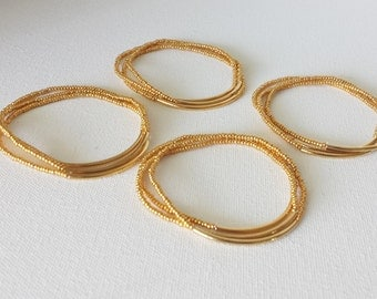 Bridesmaid gifts, gold bracelets, stacking bracelets, strechy bracelets,noodle bracelets,seed bead bracelet,minimalist,bridesmaid jewelry