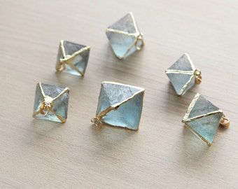 1 pcs of Hexagonal Raw Blue flourite fashion Pendant With Full Gold Plated Brass Foiling with Bail - Gemstone Pendants