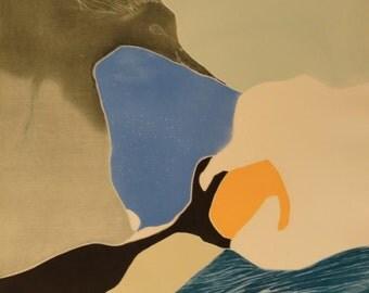 "Gilou Brillant ""Oiseau"" Original Etching S/N Artwork"