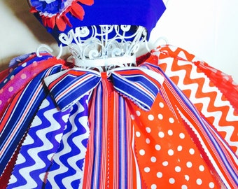 Patriotic Fabric Tutu-Ready2Ship Perfect for: Pageant, Outfit of Choice, Memorial Day, Veterans Day or July 4th, photo shoot