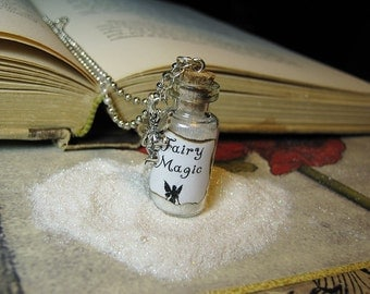 SALE - Fairy Magic Glass Bottle Necklace Charm - 2ml Magic Sparkle Glitter Vial Pendant - Kawaii Fairies