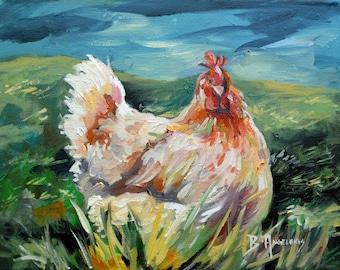 Chicken on the Farm: Original Bird Oil Painting