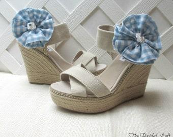 Light Blue Gingham Shoe Clips, Light Blue Shoe Clips, Blue Shoe Accessories, Shoe Adornment, Matching Items Available