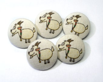 Fabric covered buttons, Children buttons, ivory yellow cream buttons, cloth buttons, medium buttons, animal buttons, patchwork fabric button
