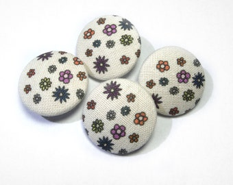Fabric covered cartoon buttons, Children buttons, ivory yellow cream flower buttons, cloth buttons, patchwork fabric button