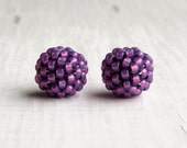 Violet Opal - 2 small handwoven beads - handwoven beaded beads - handmade beads - seed bead beads, purple beaded beads, uk beads