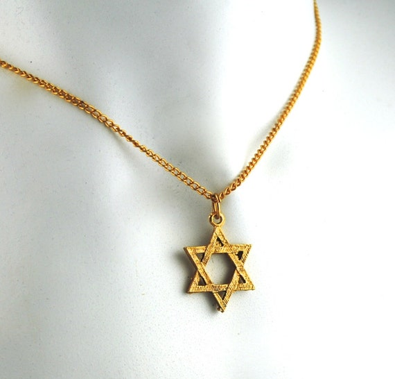 vintage star of david necklace jewish star by