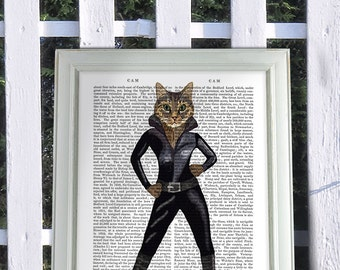 Cat Woman in leather catsuit cat poster, cat decor, cat illustration, cat picture, cat gift, cat lover, cat art, wall art, cat print