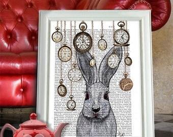 White rabbit print - Rabbit Time - Rabbit art Rabbit Illustration Rabbit Nursery Rabbit wall art Bunny nursery décor Bunny nursery art gift