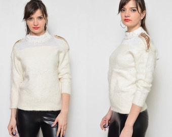 Vintage 80's Beaded Wing White Angora Sweater