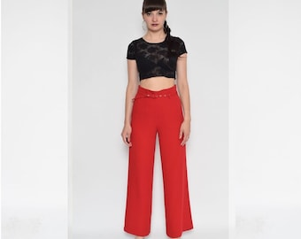 Vintage 90's High Waisted Wide Leg Red Pants