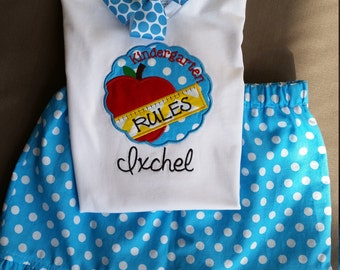 Girl's back to school shirt and skirt set (can be made in other grade levels)