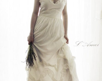 Freedom Custom made Cotton Beach Wedding Bridal Dress Featuring a Low Back. New Design by LAmei  AM186304978