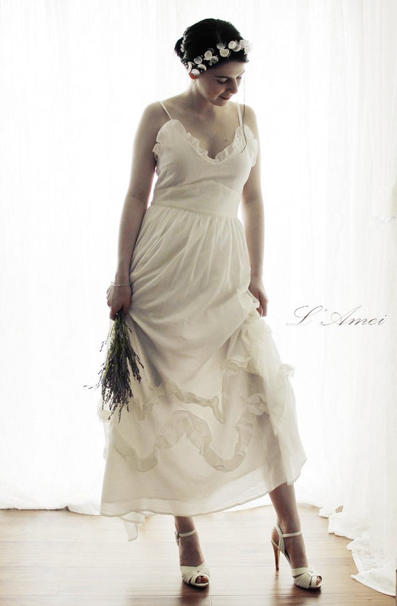 Freedom Custom Made Cotton Beach Wedding Bridal Dress
