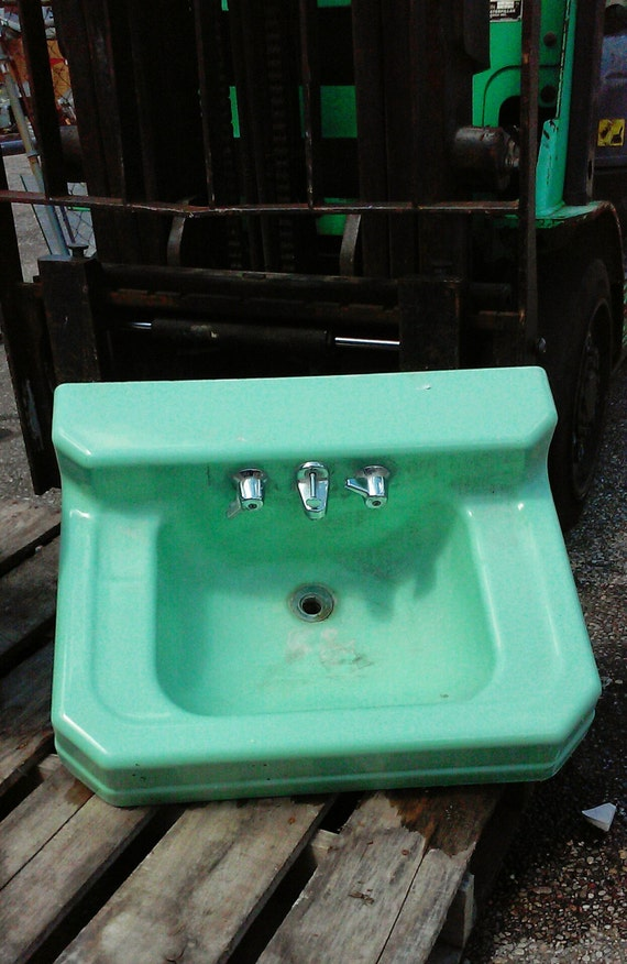 vintage mid century bathroom sink mint green by northerngate