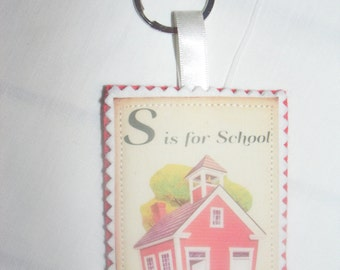 Retro Teacher Gift School Keyring Keychain Bag Charm Fabric & Felt