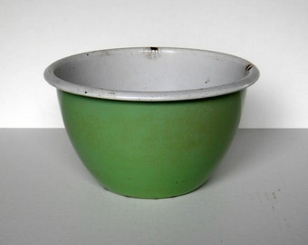 Green and White Enamelware Bowl