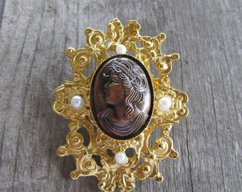 Lovely Elegant Faux Cameo Brooch with Faux Pearls, Scrolling Floral Border, Unique Find