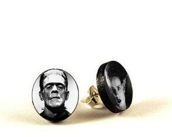 Frankenstein and His Bride - handmade stud earrings - decoupage