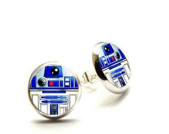 R2-D2 Stud Earrings - Star Wars Earrings - Hypoallergenic Earrings for Sensitive Ears