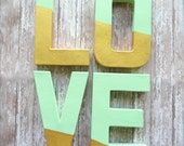 Glam Wedding Gold and Mint LOVE letters Modern Bridal Shower. Gold and Mint Bridal Shower decor