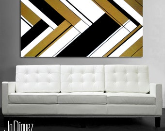 "Original abstract painting. 24x48"" Canvas art. Metallic painting. Modern wall art. Large painting. Minimalist geometric. Gold and black"