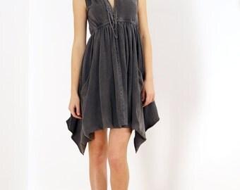 Grecian Goddess Pocket Dress - Vintage Black