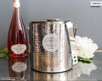 Personalized Marquis Vintage Ice Bucket with Tongs - (1x) Custom Engraved Stainless Steel Ice Bucket - Wedding Gift - Monogram Design