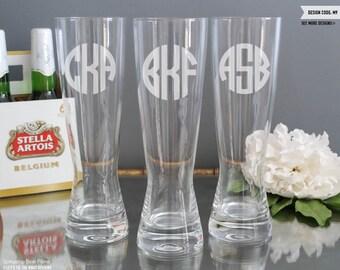 Monogram Groomsmen Beer Glass - (ONE) Custom Engraved Spiegelau Beer Pilsner - Personalized Mens Gift - Wedding Glasses Engagement Gift