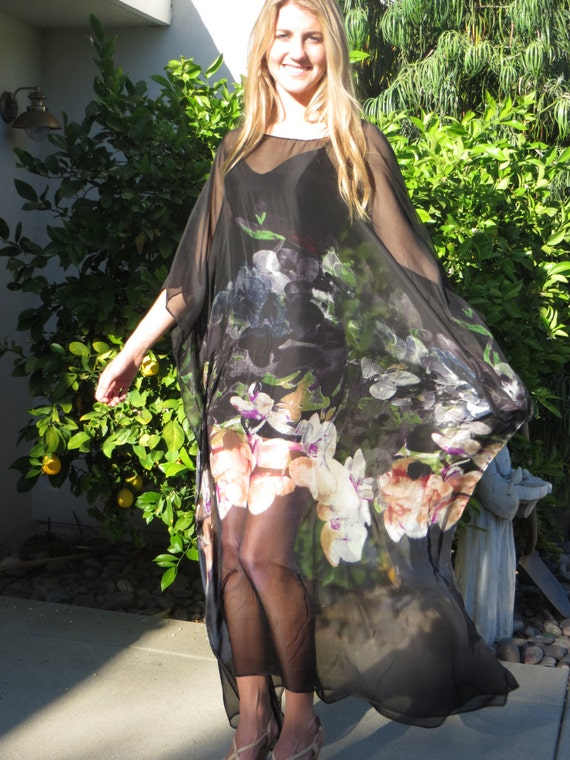 Sheer black silk caftan womens black silk kaftan silk for Caftan avec satin de chaise