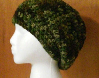 Camouflage Crochet Slouchy Beanie - Ready to Ship (#26-63)