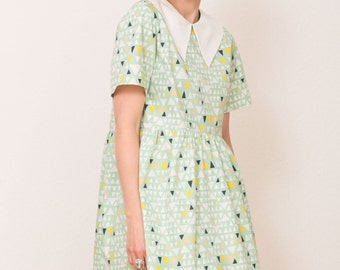 Mint triangles Babydoll Smock dress made of cotton with peter pan collar