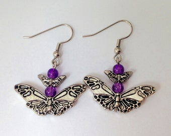 Classic Purple Butterfly Dangle Earrings